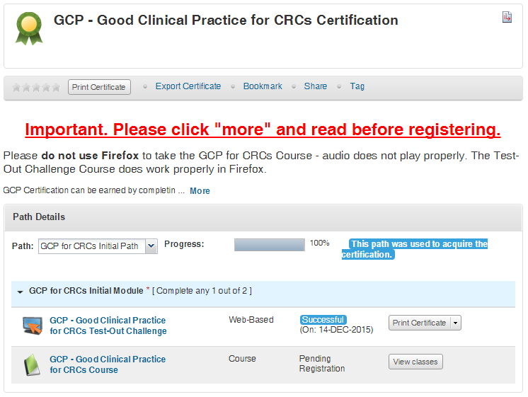 GCP for CRCs (Good Clinical Practice) | One
